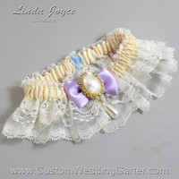 Ivory and Purple Wedding Garter Lace Bridal Garter 871 Ivory - 430 Lavender Blue Prom Garter Plus Size & Queen Size