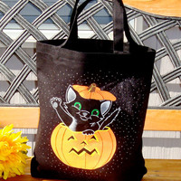 Halloween Tote Bag With Pumpkin and Cat