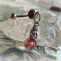 Pink Mermaid Belly Ring, Fantasy Style, Bohemian, Gypsy, Siren, Ready to Ship