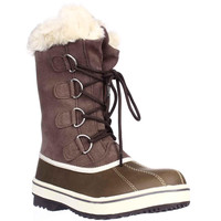 SC35 Mikkey Lace-Up Winter Boots, Brown, 6 US