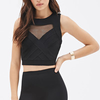 Fishnet-Paneled Textured Top