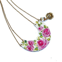 Hand Painted Rose Necklace Dangling Flower Charm Romantic Boho Jewelry FREE SHIPPING