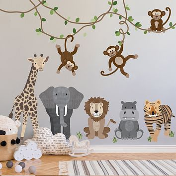 Large Safari Animals and Monkey Wall Decals, Jungle Animal Wall Stickers, Unisex Nursery Wall Decals, Peel and Stick Removable Fabric Decals