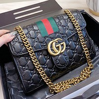 Hipgirls GUCCI New fashion more letter leather chain shoulder bag crossbody bag Black