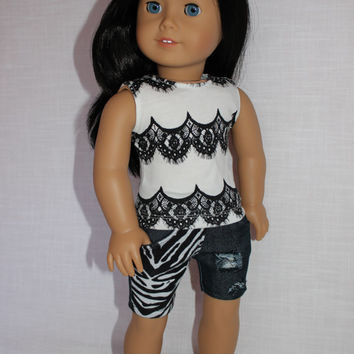 18 inch doll clothes, lace look tank top, ripped denim shorts with knit fabric overlay , american girl ,maplelea