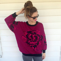 vintage slouchy oversized sweater, black and hot pink, fuschia, flower rose hipster style S/M