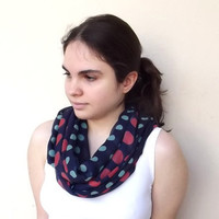 Polka Dot Infinity Scarf Dark Blue Mint and Red