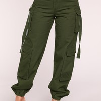 Obey My Commands Cargo Pants - Olive