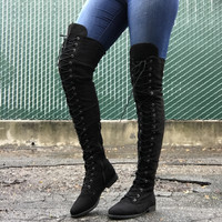 Sarah Lace Up Thigh High Boots - Black
