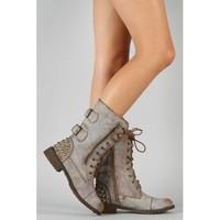 Amazon.com: Nature Breeze Harley-12 Zipper Lace Up Military Mid Calf Boot TAN (FREE SHIPPING on all add'l items) (5.5): Shoes