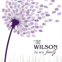 SALE DIY Wedding Guest Book / Printable PDF 16x20, 17x22, 18x24 or 20x25 inches - Dandelion Fingerprint and Signature Anniversary Poster