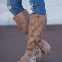 Feeling Sassy Zipper Lace Tall Boots-Taupe