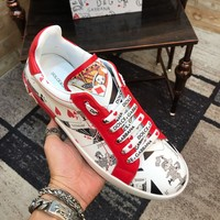 New Dolce& Gabbana White/Red Men Fashion Casual Sports Shoes Size 38-45