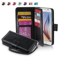 For Samsung Galaxy S6,ULAK wallet case for Galaxy S6,Luxury S6 PU Leather,women 9 Credit Card Slots wallet case, men Wrist Strap