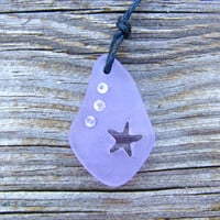 Starfish Sea Glass Carved Lavender Pale Purple Necklace Crystal by Wave of Life