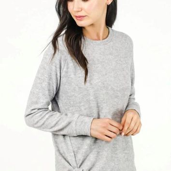 Hacci Side Tie Top - Heather Grey - ONLY 1 S LEFT