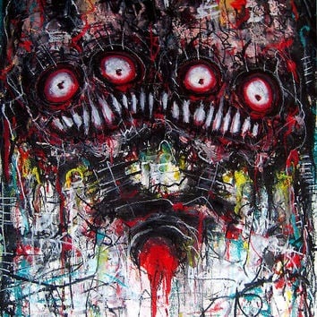 """Print 8x10"""" - Loving two people - Dark Art Horror Heart Blood Red Creature Monster Surreal Abstract Alien Zombie Gothic"""