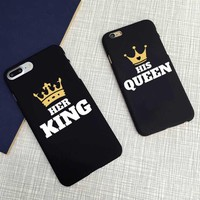 Cool Cute Matching King and Queen Black Letter Case Matte Hard Cover  For iPhone 7 XR XS Max 6 6s plus SE 5 5s 8 8Plus X 10AT_93_12