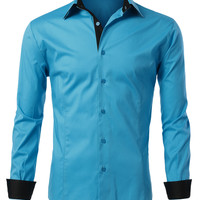 LE3NO Mens Slim Fit Button Down Shirt with Color Contrast (CLEARANCE)