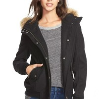 Women's Levi's Hooded Bomber Jacket with Faux Fur & Faux Shearling Trim,