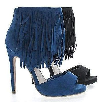 Cypress By Delicious, Peep Toe Fringe Ankle Cuff Zip Up Stiletto Heel Pumps