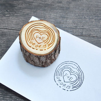 Customize Stamp with Initials & Date // Personalized Wooden Stamp // Wedding Invitation Stamp // Engrave Stamp