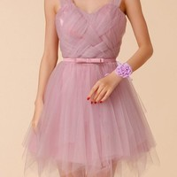 New Purple Tie Back High Waisted Plus Size Fluffy Puffy Tulle Bridesmaid Mini Dress