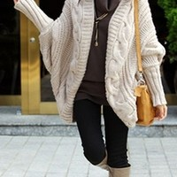 Beige Long Dolman Sleeve Chunky Textured Cable Knit Open Front Cardigan Sweater