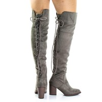 Aspen Taupe By Soda, Corset Lace Up Military Inspired Over Knee Boots w High Block Sta
