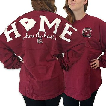 South Carolina Gamecocks Women's Home Spirit Jersey Long Sleeve Oversized Top Shirt