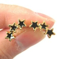 Small Connected Star Shaped Stud Earrings in Black on Gold