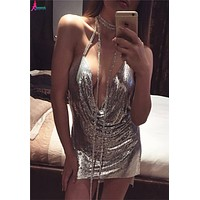 Gagaopt Women Sexy Club Dress Sleeveless Round Neck Backless Spaghetti Strap Sequins Mini V-neck Dresses Women Clothing