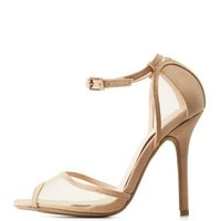 Natural Mesh Two-Piece Peep Toe Heels by Charlotte Russe