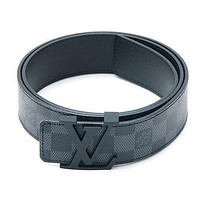 LOUIS VUITTON LV Initial Initiales Damier Graphite Leather Belt SIZE 90 40mm