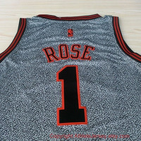 Derrick Rose Chicago Bulls 1 Super Rare NBA Rev 30 Grey Jersey NBA Chicago Bulls Basketball Jersey All Stitched and Sewn Any Size S - XXL