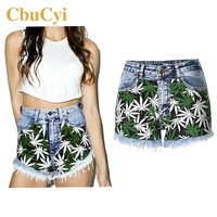 Hot Fashion Shorts Women Stretch Shorts Jeans High Waist Leaves Printed Spliced Washed Denim Shorts Female Sexy Slim Short Jeans