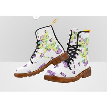 Combat Boots Crystals Design White - Women