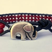 Red Coral Beaded Black Leather Wrap Bracelet With Silver Lucky Elephant Button
