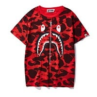 BAPE AAPE Summer Classic Fashion Couple Shark Mouth Print T-Shirt Top Red