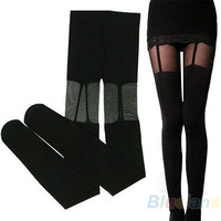 Fashion pantyhose Stretchy Stockings Sweety Black  Decorated tights Garters