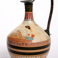 Greek Drinking Party with Two Figures on Couches Greek Vase 13.25H