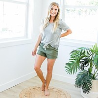 Everyday Heather Gray V-Neck Top