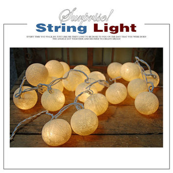 20 LED Battery Powered Cotton Ball Fairy String Lights Party Wedding Home Decoration