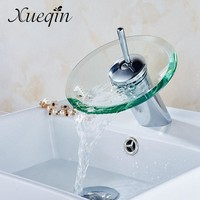 Xueqin Free Shipping Bathroom Waterfall Basin Sink Mixer Tap Faucet Chrome Polished Glass Edge Faucet Tap With Water Inlet Pipe