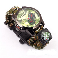 Outdoor Watch With survival Flint Fire starter paracord Compass rescue