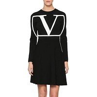 Valentino Autumn Winter Fashion Women V Letter Jacquard Slim Knit Dress