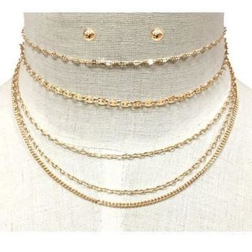 Multi Layered Chain Choker Necklace Set with Round Post Earrings
