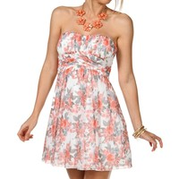 Sale-floral Pleated Dress