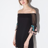Glamorous Embroidered Off the Shoulder Dress