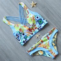 Melphieer Women Pad Bathing Suit Bikinis Set Swimsuit Reversible Bottom Swimwear Bikini Sexy Swim Beach Suit Push Up Biquini